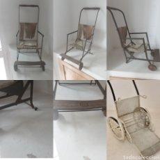 Vintage: SILLA DE RUEDAS ANTIGUA, DE HIERRO Y REGALO SILLA DE RUEDAS DE METAL. Lote 218203405