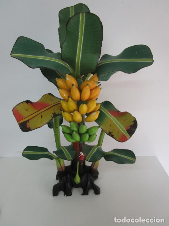 Vintage: Decorativo Platanero - Árbol, Planta - Madera Pintada - Hojas Desmontables - Altura 98 cm - Años 80 - Foto 12 - 218225847