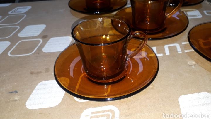 Vintage: Conjunto 5 piezas taza café y plato DURALEX COLOR AMBAR AÑOS 70 - Foto 2 - 219097996