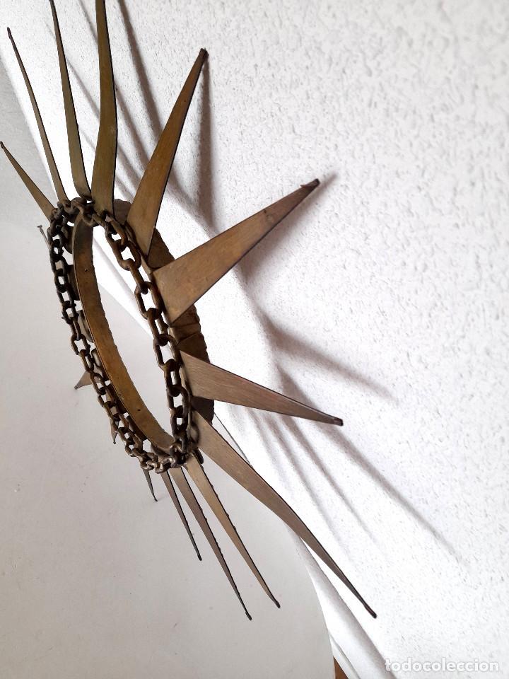 Vintage: Gran marco espejo metal hierro forja cadena alrededor marco 70 cm x 70 cm - Foto 2 - 220356502