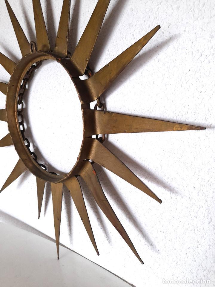 Vintage: Gran marco espejo metal hierro forja cadena alrededor marco 70 cm x 70 cm - Foto 4 - 220356502