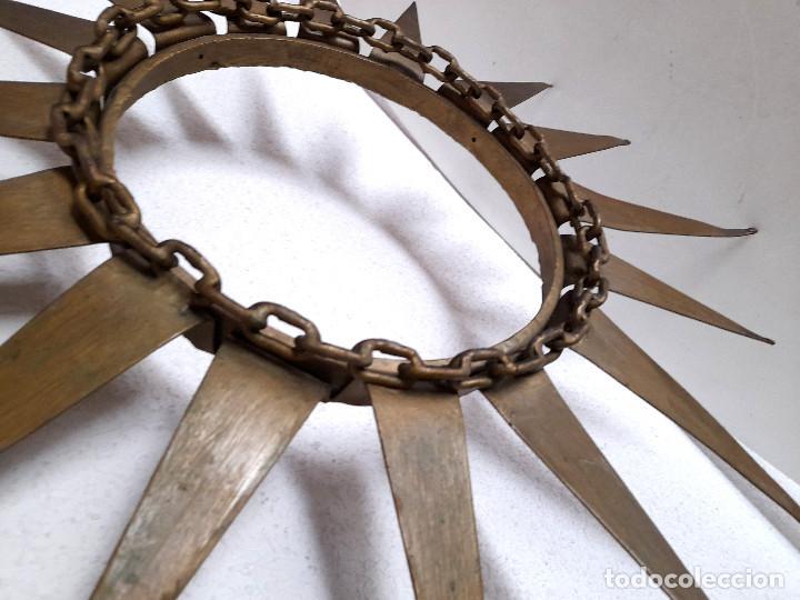 Vintage: Gran marco espejo metal hierro forja cadena alrededor marco 70 cm x 70 cm - Foto 6 - 220356502