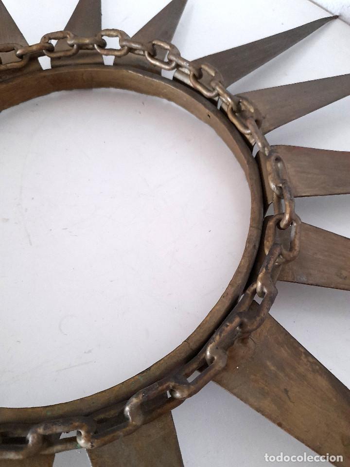 Vintage: Gran marco espejo metal hierro forja cadena alrededor marco 70 cm x 70 cm - Foto 9 - 220356502