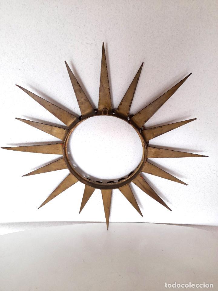 Vintage: Gran marco espejo metal hierro forja cadena alrededor marco 70 cm x 70 cm - Foto 10 - 220356502