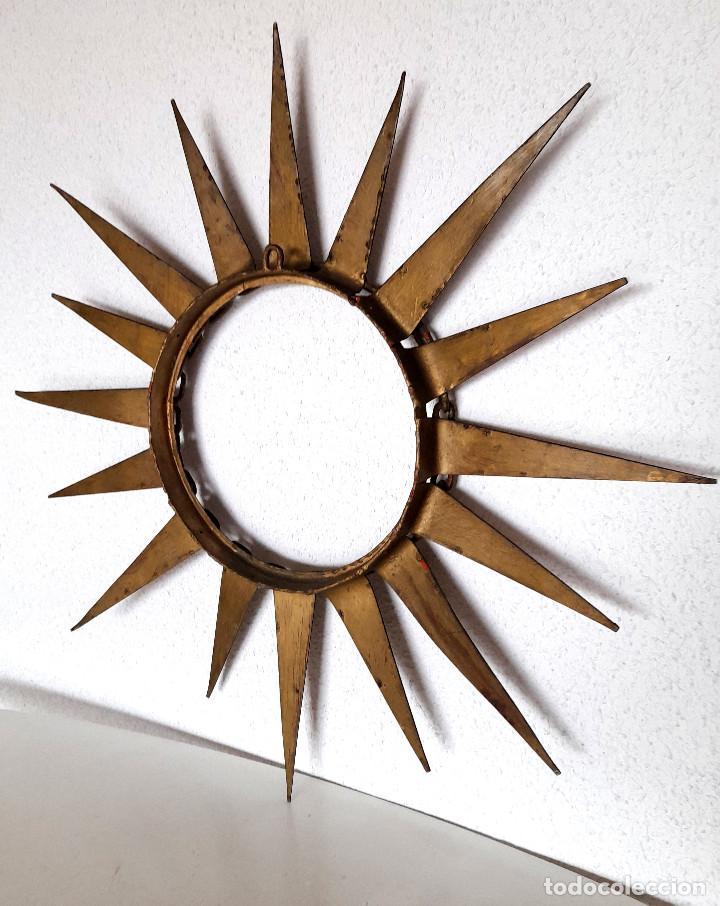 Vintage: Gran marco espejo metal hierro forja cadena alrededor marco 70 cm x 70 cm - Foto 11 - 220356502