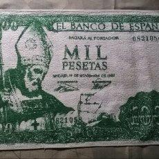 Vintage: TOALLA CON DIBUJO.BILLETE DE MIL PESETAS.. Lote 220830038