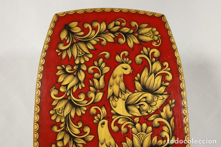 Vintage: Tabla soviética Khokhloma pintada sobre madera - Foto 2 - 221307067