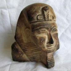 Vintage: FIGURA BUSTO EGIPCIO TALLADO EN PIEDRA, TUTANKAMON. Lote 221390283