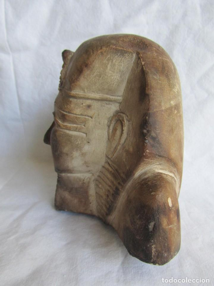 Vintage: Figura busto egipcio tallado en piedra, Tutankamon - Foto 7 - 221390283