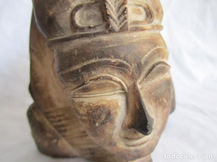 Vintage: Figura busto egipcio tallado en piedra, Tutankamon - Foto 9 - 221390283