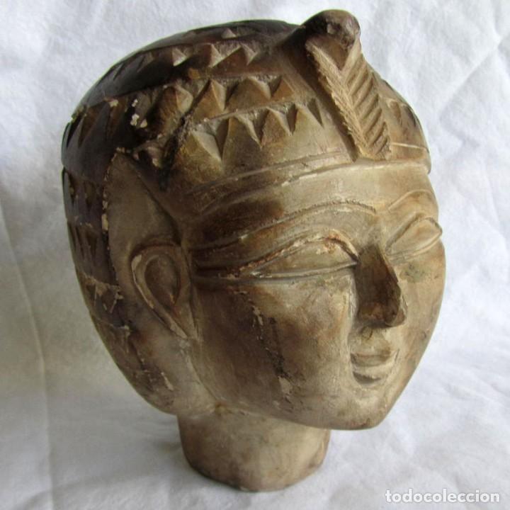 FIGURA BUSTO MUJER EGIPCIA TALLADO EN PIEDRA (Vintage - Decoración - Varios)