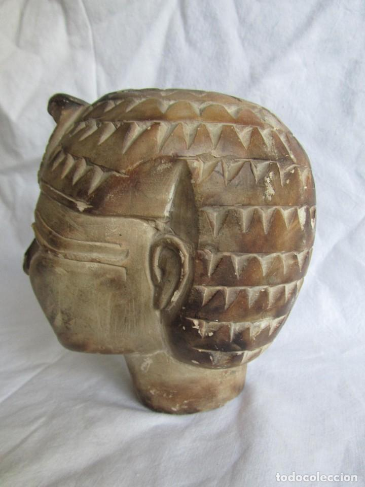 Vintage: Figura busto mujer egipcia tallado en piedra - Foto 6 - 221390335