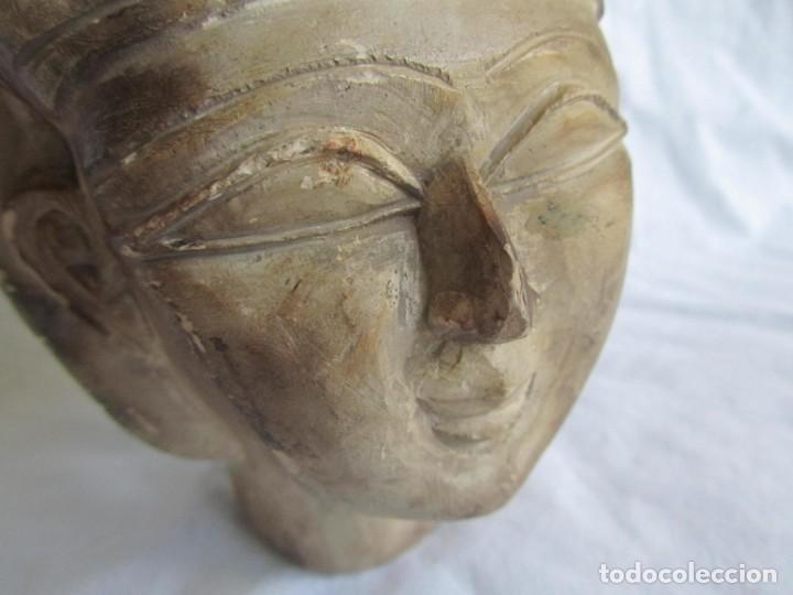 Vintage: Figura busto mujer egipcia tallado en piedra - Foto 9 - 221390335