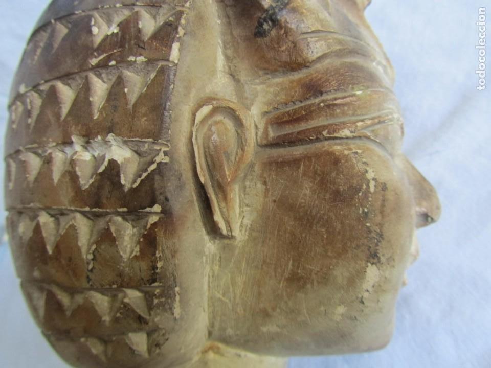 Vintage: Figura busto mujer egipcia tallado en piedra - Foto 13 - 221390335