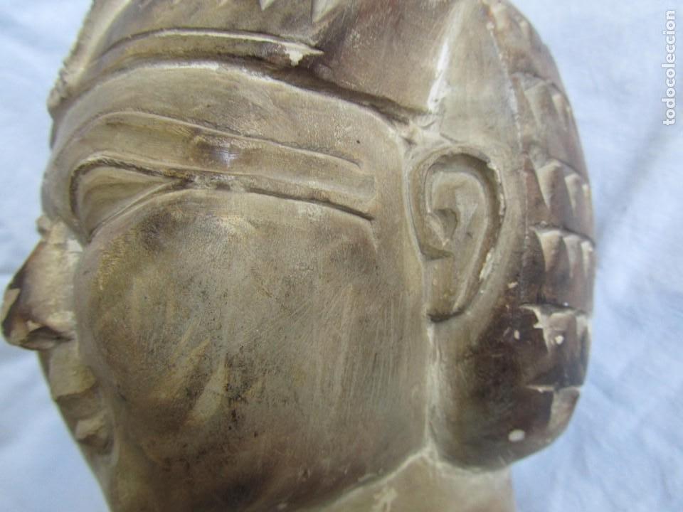 Vintage: Figura busto mujer egipcia tallado en piedra - Foto 14 - 221390335