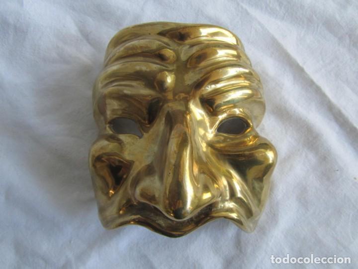 Vintage: Gran máscara de bronce macizo teatro - Foto 2 - 221391485