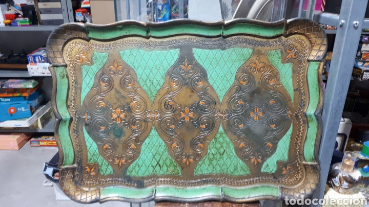 ANTIGUA BANDEJA PVC SÍMIL MADERA DISEÑO FLORENTINO SELLO EN PARTE TRASERA FLORENTINA (Vintage - Varios)