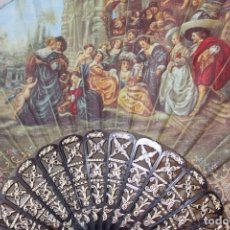 Vintage: ANTIGUO ABANICO CON ESCENA DE CUADRO RUBENS EL JARDIN. Lote 222035297