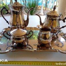 Vintage: JUEGO CAFE Y TE EN METAL PLATEADO. Lote 222047607