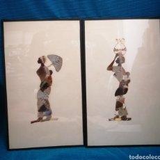 Vintage: 2 CUADROS AFRICANOS HECHOS CON ALAS DE MARIPOSAS. Lote 222836877