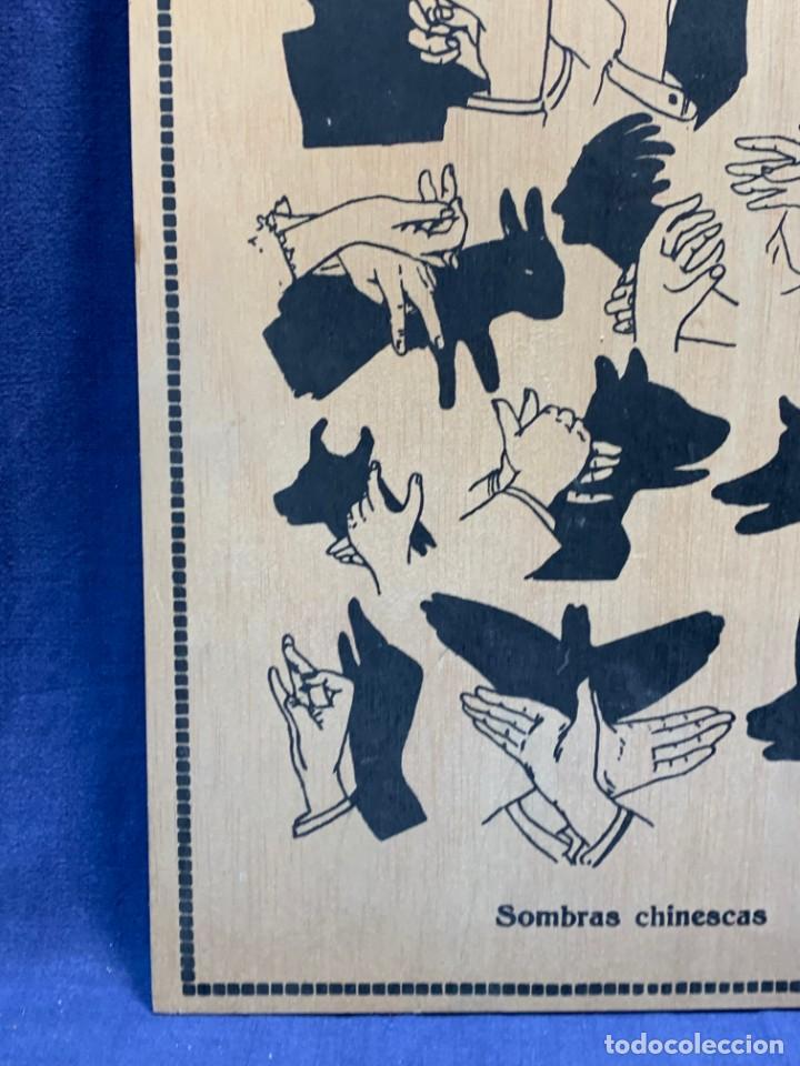 Vintage: PANEL MADERA SOMBRAS CHINESCAS EXPLICATIVO PALOMA PATO CONEJO 48X32CMS - Foto 5 - 223749427
