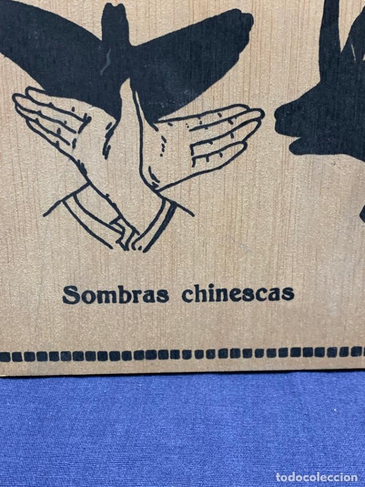 Vintage: PANEL MADERA SOMBRAS CHINESCAS EXPLICATIVO PALOMA PATO CONEJO 48X32CMS - Foto 7 - 223749427