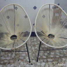 Vintage: CURIOSA PAREJA DE SILLONES VINTAGE,SUPER LIGEROS,AÑOS 60. Lote 224501831