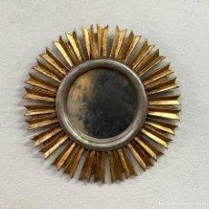Vintage: ESPEJO SOL DORADO DE MADERA 42CM DIÀMETRO. Lote 225107675