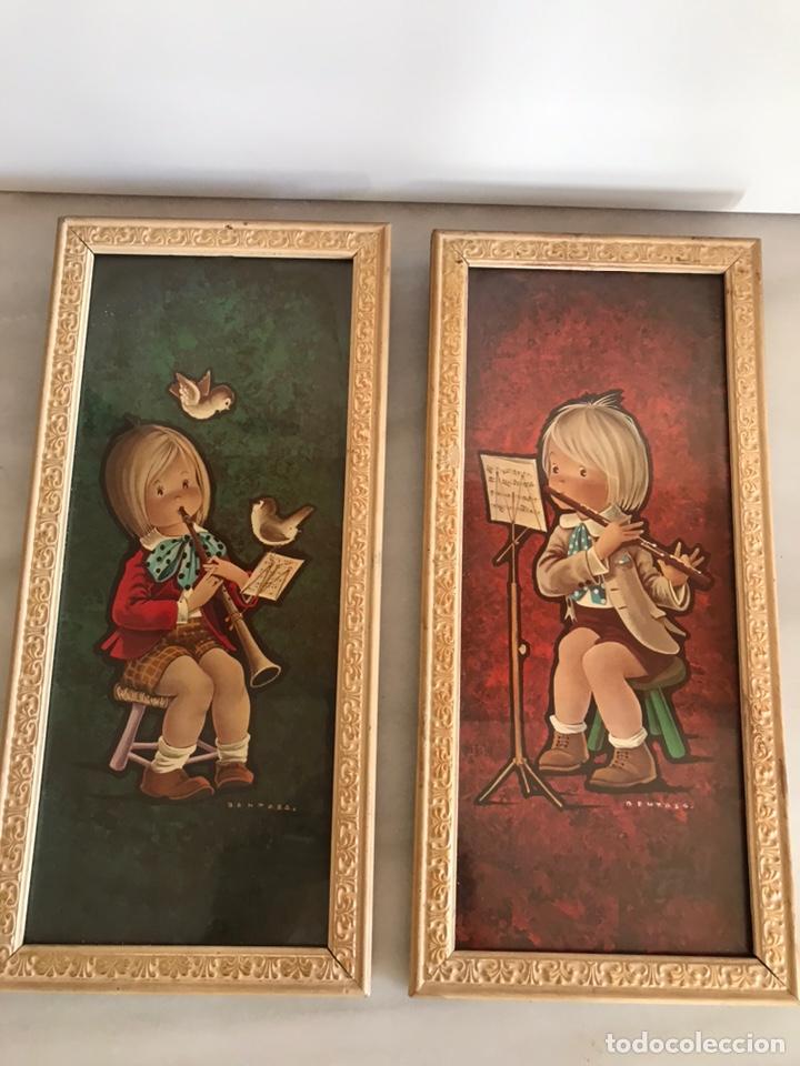 Vintage: 2 láminas enmarcadas Benages 35x16cm - Foto 2 - 225817055