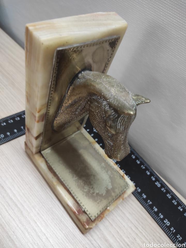 Vintage: Sujeta libros cabeza de caballo alpaca y mármol - Foto 4 - 226781520