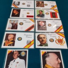 Vintage: COLECCION TARJETAS CONMEMORATIVAS FRANCISCO FRANCO MONEDA DE 100 PESETAS FALANGE JOSÉ ANTONIO PRIMO. Lote 228946435