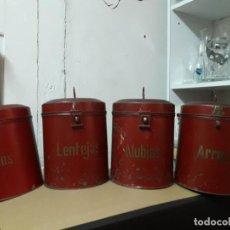 Vintage: ANTIGUO JUEGO DE 4 BOTES METÁLICOS - LATAS DE COCINA - COLOR GRANATE - 22 X 17 CM. - VINTAGE. Lote 229759455