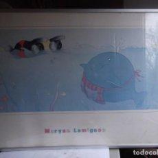 Vintage: CUADRO LAMINA INFANTIL CON MARCO DE ALUMINIO Y METACRILATO DE 61X42 CM. Lote 231189480