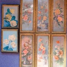 Vintage: 8 CUADROS PEQUEÑOS DE FLORES. Lote 288447293