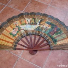 Vintage: ANTIGUA GRAN ABANICO PARA RESTAURAR. PINTADO A MANO.. Lote 232870705