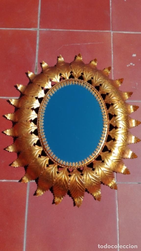 Vintage: ESPEJO SOL OVALADO METAL DORADO VINTAGE ANTIGUO - Foto 2 - 234780080