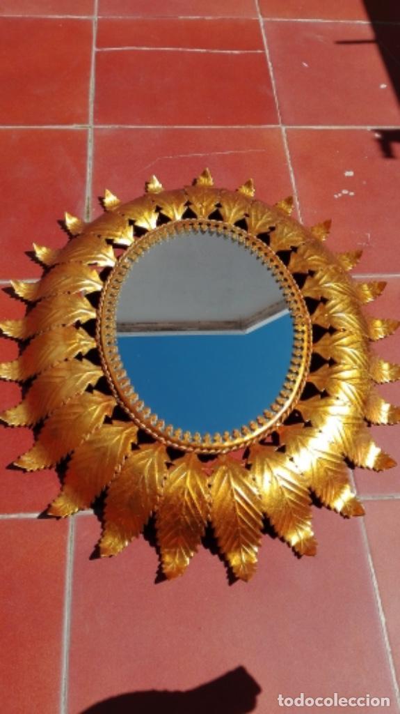 Vintage: ESPEJO SOL OVALADO METAL DORADO VINTAGE ANTIGUO - Foto 4 - 234780080