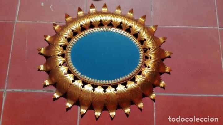 Vintage: ESPEJO SOL OVALADO METAL DORADO VINTAGE ANTIGUO - Foto 5 - 234780080