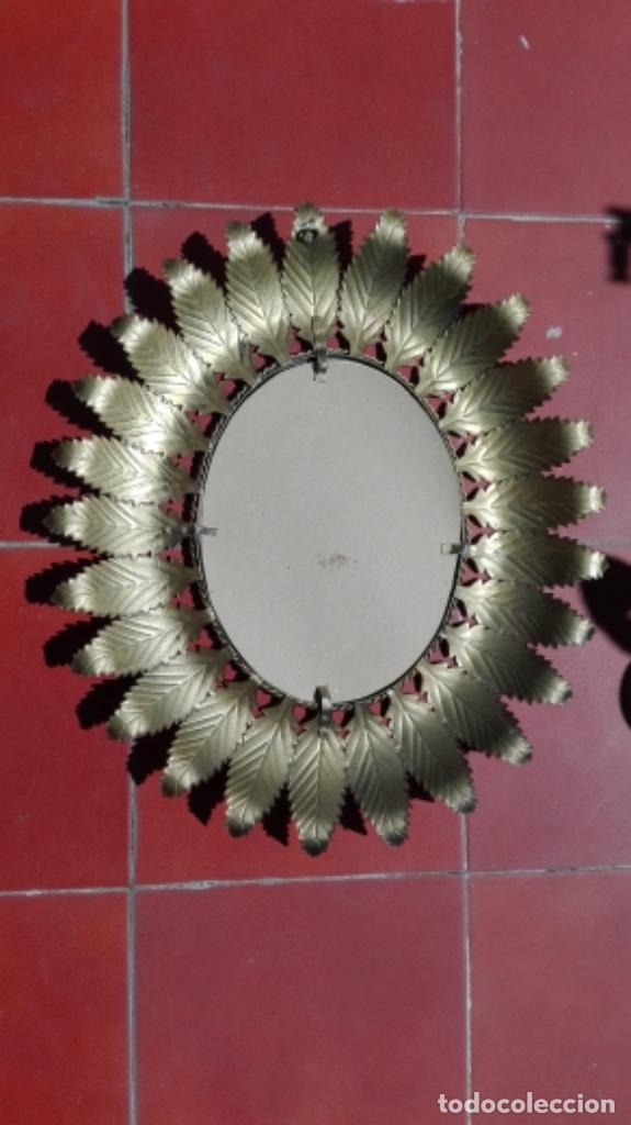 Vintage: ESPEJO SOL OVALADO METAL DORADO VINTAGE ANTIGUO - Foto 9 - 234780080