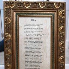 """Vintage: CUADRO CORAZONES ENTRELAZADOS CON POEMA """"SI..."""". Lote 235141445"""
