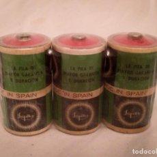Vintage: PAQUETE DE 3 PILAS JUPITER R20 AÑOS 70 WONDER ENERGIZER CEGASA TUDOR LINX TXIMIST EVEREADY SKLAR. Lote 238318135
