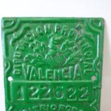 Vintage: ¡¡ PLACA METALICA, PARA BICICLETA. DIPUTACION DE VALENCIA, AÑO , 1955. !!. Lote 238386795