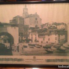 Vintage: CUADRO POSTER DE CADAQUES CAIXA D'ESTALVIS PROVINCIAL DE GIRONA 70 / 49. Lote 241479290