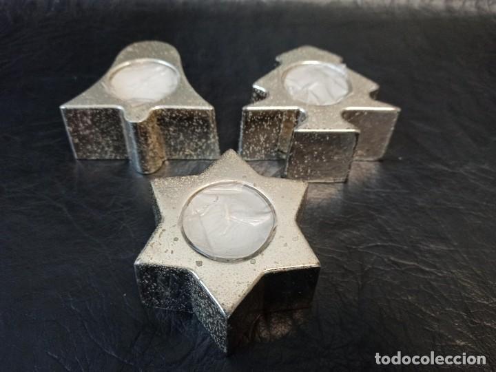 Vintage: Conjunto de 3 portavelas. C44 - Foto 2 - 241867070