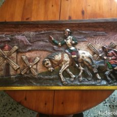 Vintage: CUADRO TALLADO EN RELIEVE DE MADERA MACIZA DE DON QUIJOTE DE LA MANCHA 111 X 51. Lote 243602940
