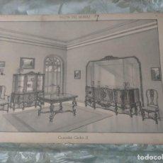 Vintage: MUY ANTIGUA LAMINA AÑO 1900 APROXIMADO DECORACION INTERIORES MUEBLES SALONES CASAS DESPACHOS HOGAR. Lote 243899500