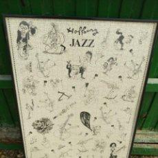 Vintage: JAZZ DIBUJO GERARD HOFFNUNG PUZZLE MANDOLIN 1989 - MARCO MEDIDA 70 X 49 CM.. Lote 245908250
