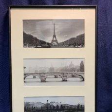 Vintage: TRES TARJETAS TIPO POSTAL PARIS DECORATIVAS VISTAS MARCO METAL NEGRO LACADO 52X35CMS. Lote 247990365
