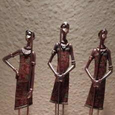 Vintage: TRES FIGURAS DE RESINA TRIBALES AFRICANAS. Lote 249180215