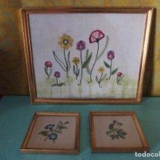 Vintage: 3 CUADROS BORDADOS A MANO. Lote 252689145